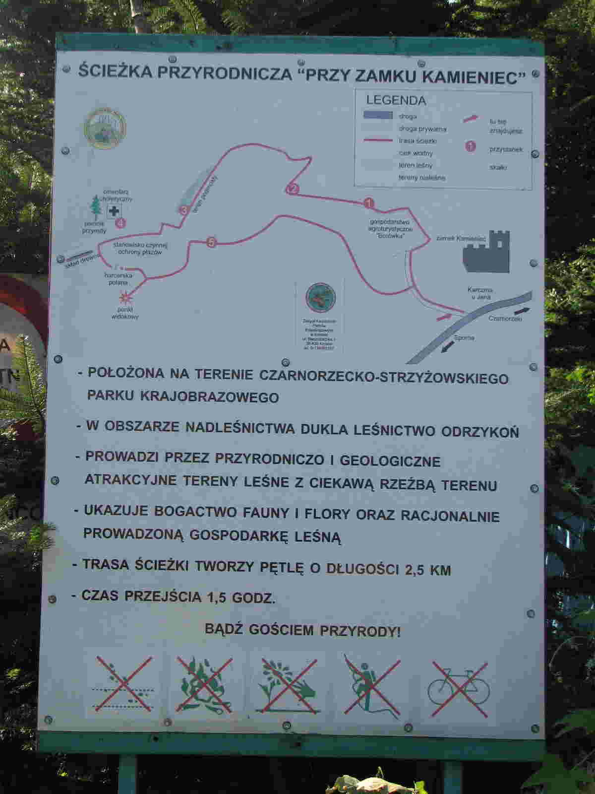 Szlak koło Zamku Kamieniec